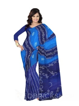 TIE N DYE DARK BLUE, TURQUOISE COTTON SAREE