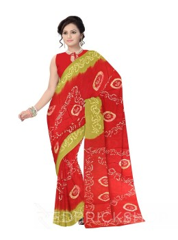 TIE N DYE RED, GREEN COTTON SAREE
