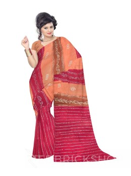 TIE N DYE BROWN, RED COTTON SAREE