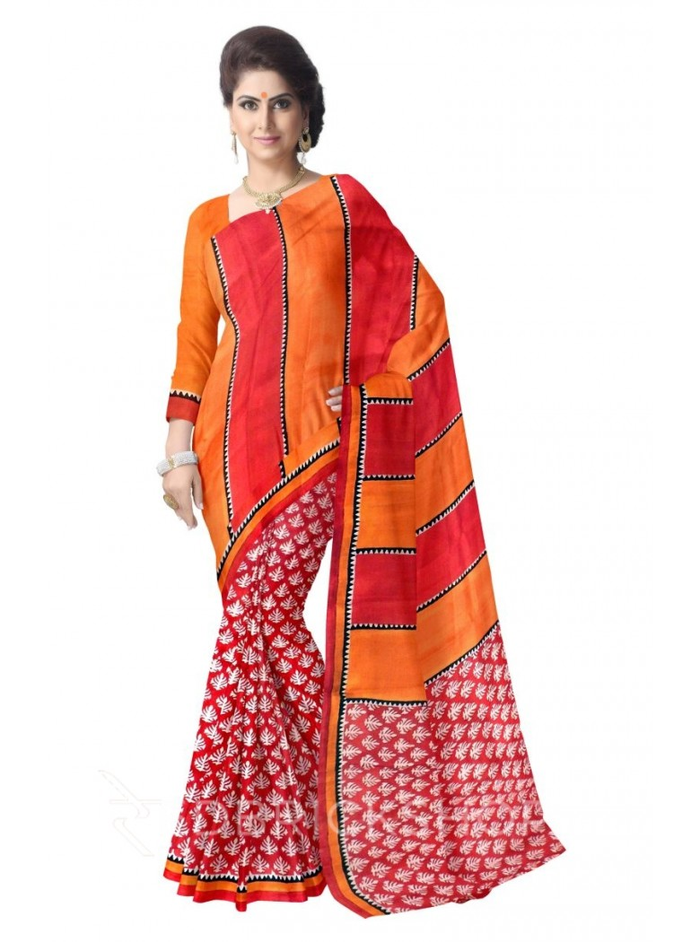 FLORAL RED RUST OFF WHITE BLACK TUSSAR SILK SAREE