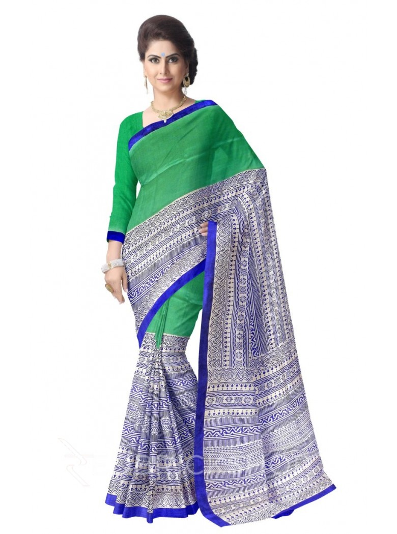TULIP LINE GREEN ROYAL BLUE CREAM TUSSAR SILK SAREE