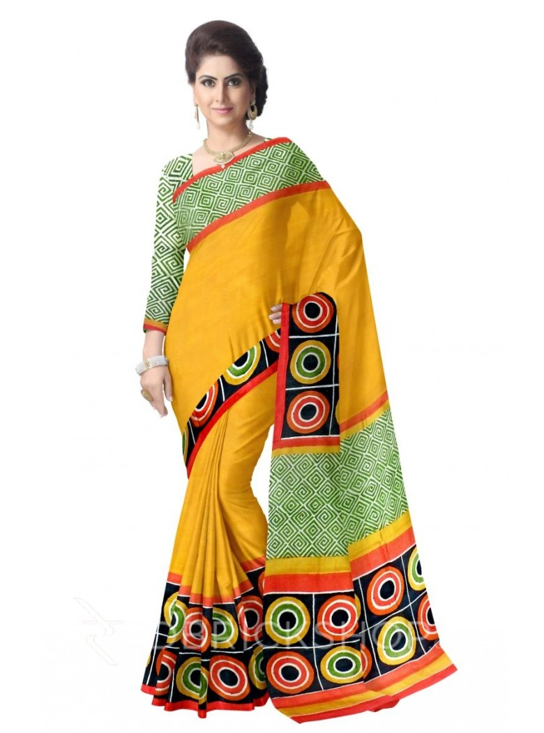 DIAMOND CIRCLE MUSTARD RED BLACK GREEN TUSSAR SILK SAREE