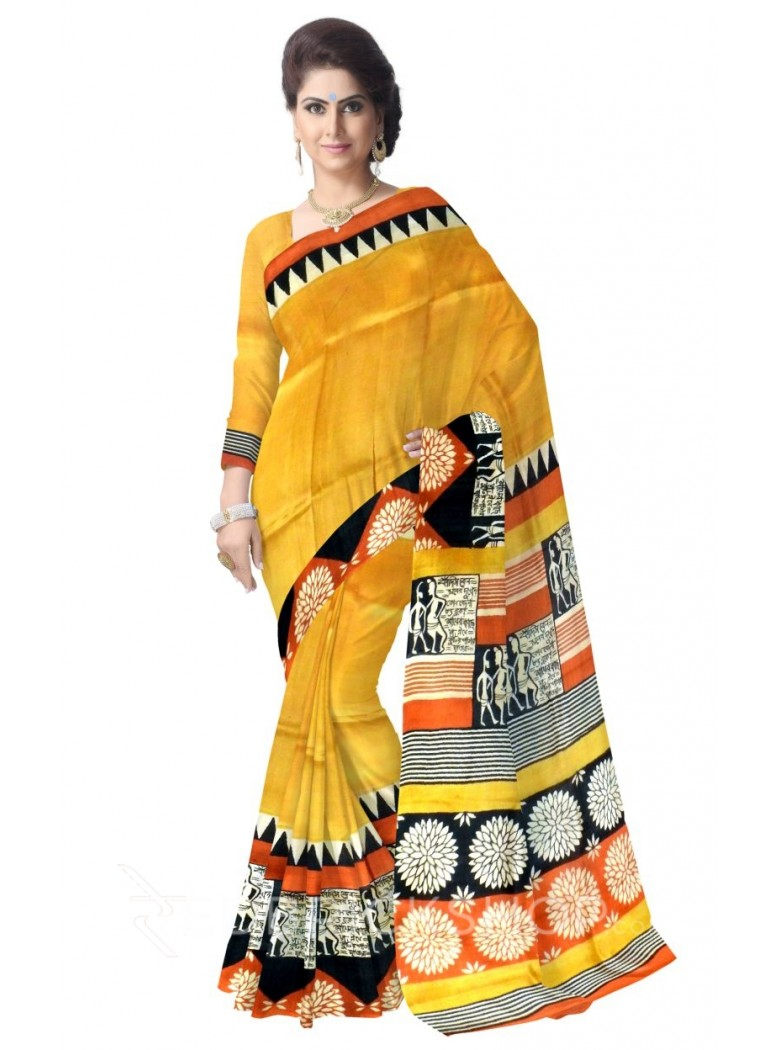 FLOWER SHLOK PEOPLE MUSTARD RUST BLACK OFF WHITE TUSSAR SILK SAREE