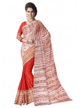 BATIK LIGHT BROWN RED CREAM TUSSAR SILK SAREE