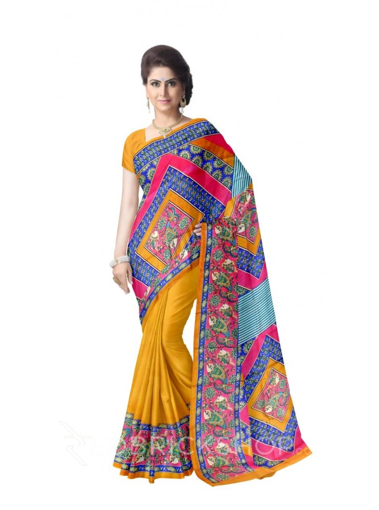 FISH RANGOLI PINK BLUE GREEN MUSTARD TUSSAR SILK SAREE