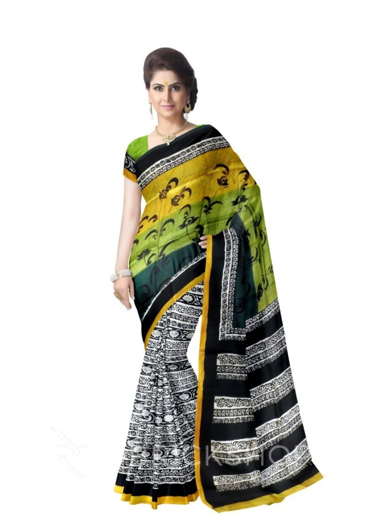 FLORAL CIRCLES DARK GREEN LIGHT GREEN BLACK MUSTARD TUSSAR SILK SAREE