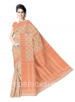 DHAKAI GEOMETRIC CREAM-ORANGE MUSLIN SAREE