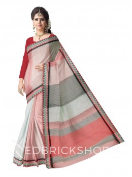 TANGAIL CHECK ROSE COTTON SAREE