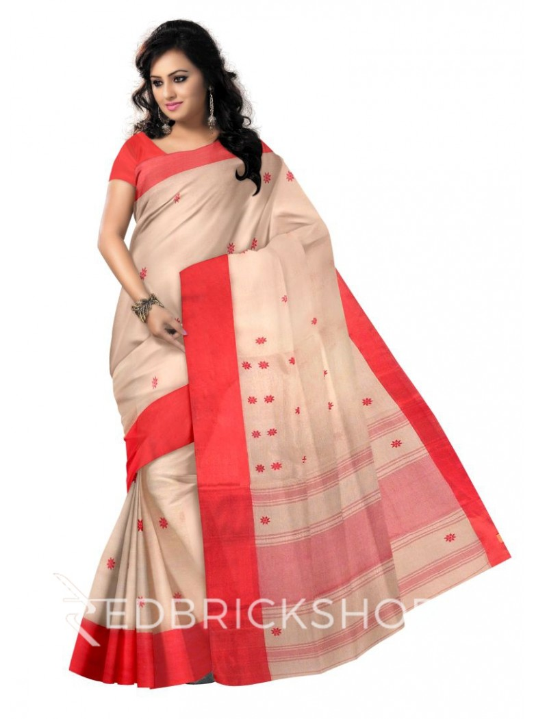 DHONEKHALI WIDE BORDER CREAM-RED COTTON SAREE