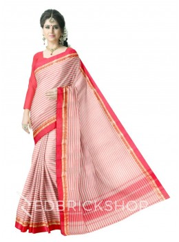 DHONEKHALI STRIPE RED-OFFWHITE COTTON SAREE