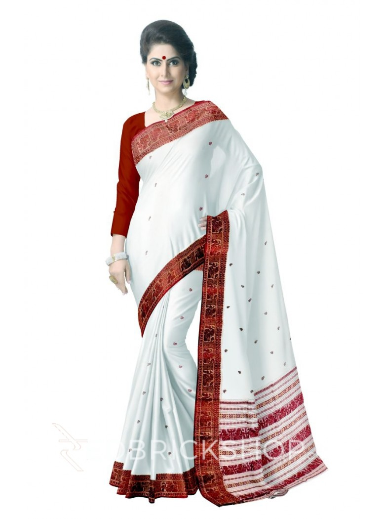 BALUCHARI CREAM-MUSTARD-RED COTTON SAREE